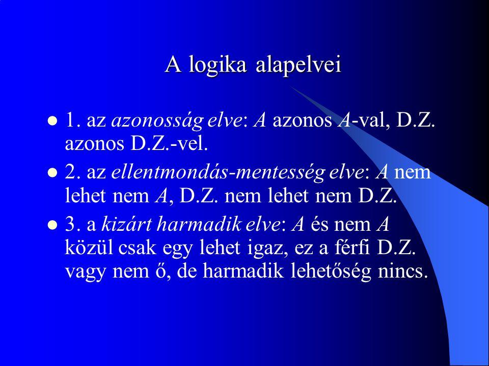 A logika alapelvei 1. az azonosság elve: A azonos A-val, D.Z. azonos D.Z.-vel. 2. az ellentmondás-mentesség elve: A nem lehet nem A, D.Z. nem lehet ne