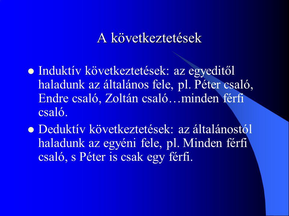 A következtetések Induktív következtetések: az egyeditől haladunk az általános fele, pl. Péter csaló, Endre csaló, Zoltán csaló…minden férfi csaló. De