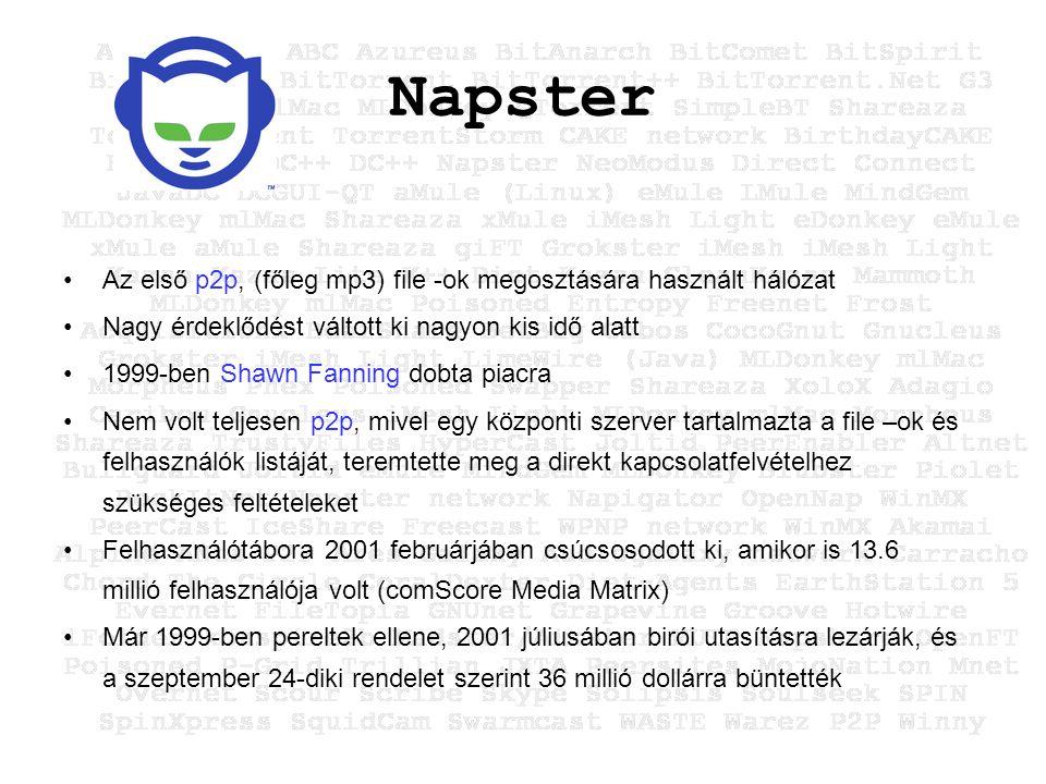 Napster Az első p2p, (főleg mp3) file -ok megosztására használt hálózat Nagy érdeklődést váltott ki nagyon kis idő alatt 1999-ben Shawn Fanning dobta piacra Nem volt teljesen p2p, mivel egy központi szerver tartalmazta a file –ok és felhasználók listáját, teremtette meg a direkt kapcsolatfelvételhez szükséges feltételeket Felhasználótábora 2001 februárjában csúcsosodott ki, amikor is 13.6 millió felhasználója volt (comScore Media Matrix) Már 1999-ben pereltek ellene, 2001 júliusában birói utasításra lezárják, és a szeptember 24-diki rendelet szerint 36 millió dollárra büntették