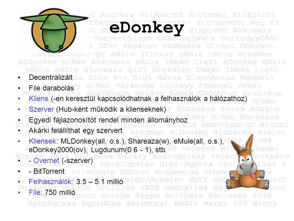 eDonkey Decentralizált File darabolás Kliens (-en keresztül kapcsolódhatnak a felhasználók a hálózathoz) Szerver (Hub-ként működik a klienseknek) Egyedi fájlazonosítót rendel minden állományhoz Akárki felállíthat egy szervert Kliensek: MLDonkey(all, o.s.), Shareaza(w), eMule(all, o.s.), eDonkey2000(ov), Lugdunum(0.6 - 1), stb.