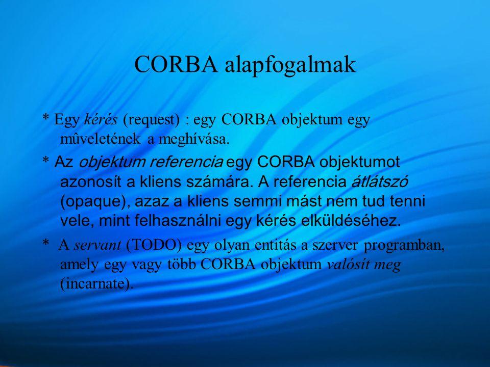 CORBA alapfogalmak * Egy kérés (request) : egy CORBA objektum egy mûveletének a meghívása.