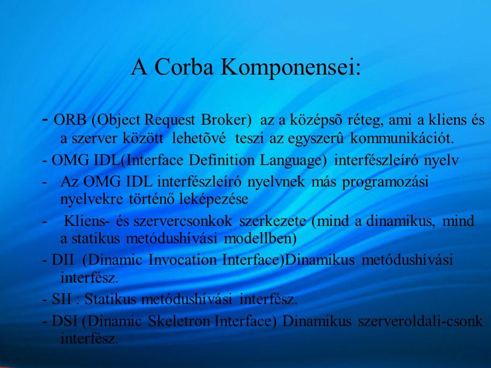 A Corba Komponensei: - ORB (Object Request Broker) az a középsõ réteg, ami a kliens és a szerver között lehetõvé teszi az egyszerû kommunikációt.