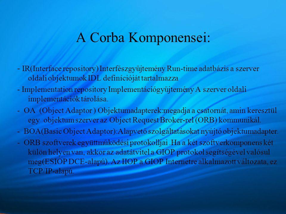 A Corba Komponensei: - IR(Interface repository) Interfészgyűjtemény Run-time adatbázis a szerver oldali objektumok IDL definícióját tartalmazza - Implementation repository Implementációgyűjtemény A szerver oldali implementációk tárolása.