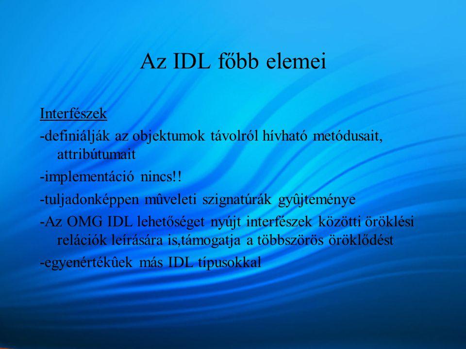 Az IDL főbb elemei Interfészek -definiálják az objektumok távolról hívható metódusait, attribútumait -implementáció nincs!.