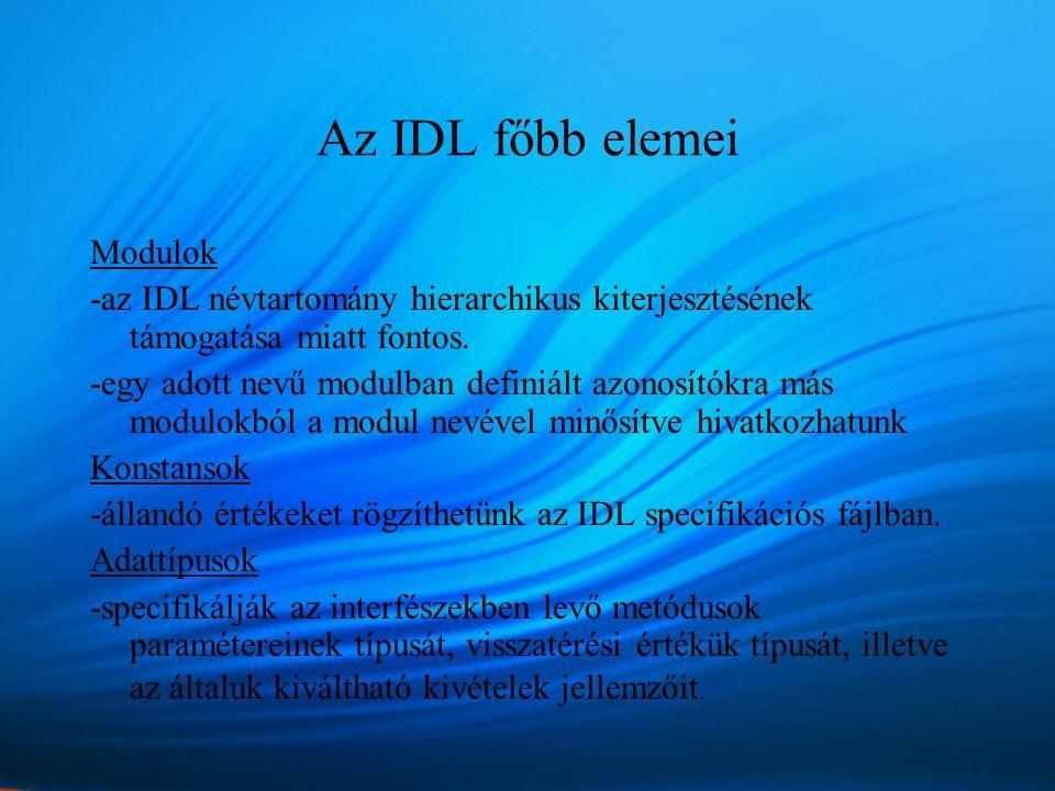 Az IDL főbb elemei Modulok -az IDL névtartomány hierarchikus kiterjesztésének támogatása miatt fontos.