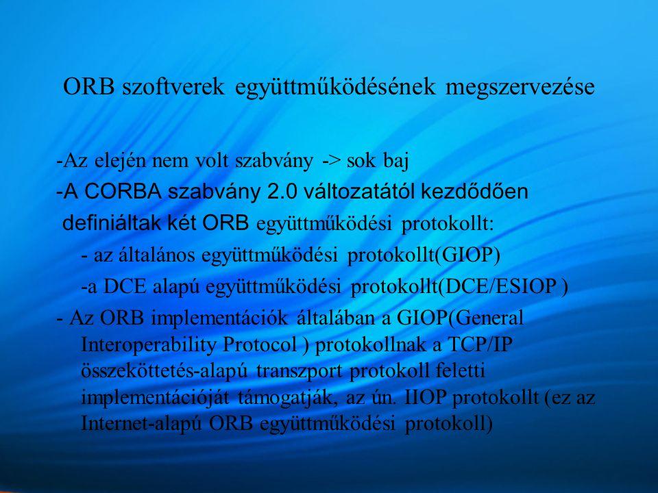 ORB szoftverek együttműködésének megszervezése -Az elején nem volt szabvány -> sok baj -A CORBA szabvány 2.0 változatától kezdődően definiáltak két ORB együttműködési protokollt: - az általános együttműködési protokollt(GIOP) -a DCE alapú együttműködési protokollt(DCE/ESIOP ) - Az ORB implementációk általában a GIOP(General Interoperability Protocol ) protokollnak a TCP/IP összeköttetés-alapú transzport protokoll feletti implementációját támogatják, az ún.