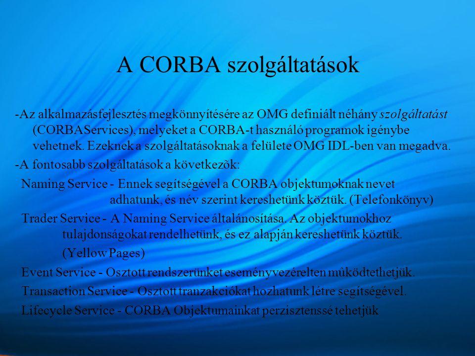 A CORBA szolgáltatások -Az alkalmazásfejlesztés megkönnyítésére az OMG definiált néhány szolgáltatást (CORBAServices), melyeket a CORBA-t használó programok igénybe vehetnek.