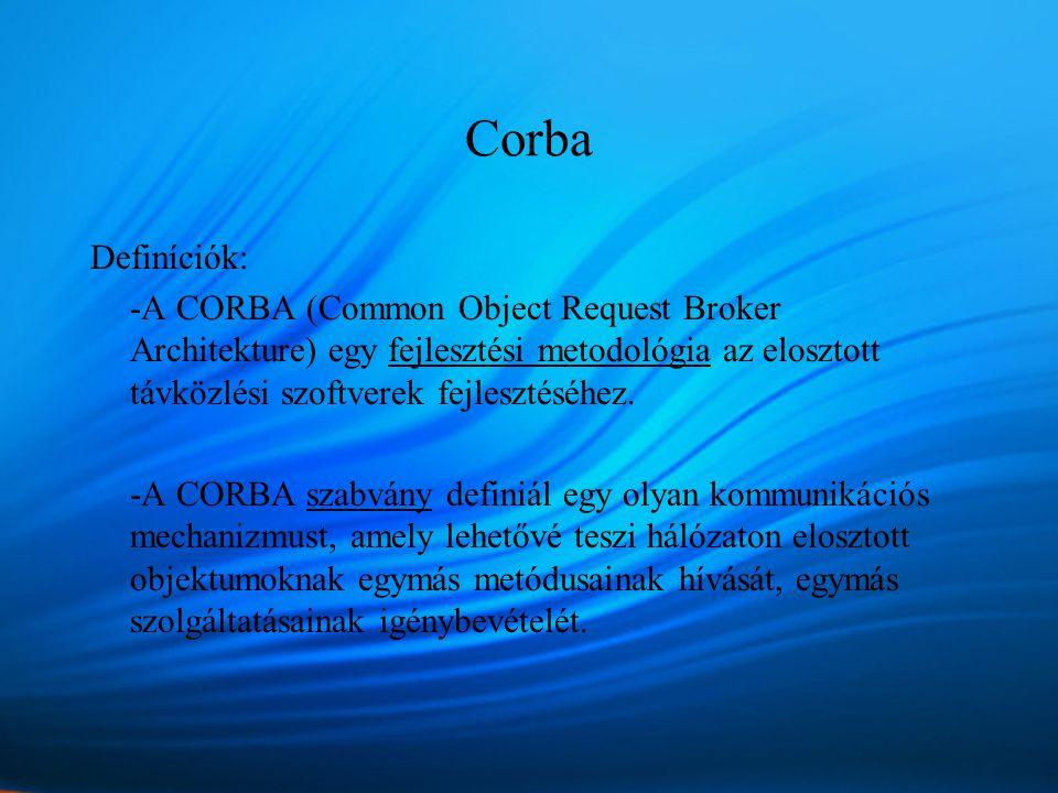 Corba Definíciók: -A CORBA (Common Object Request Broker Architekture) egy fejlesztési metodológia az elosztott távközlési szoftverek fejlesztéséhez.