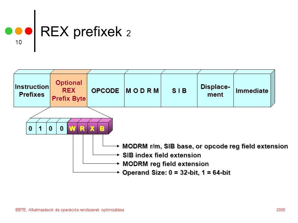 2006BBTE, Alkalmazások és operációs rendszerek optimizálása 10 REX prefixek 2 Instruction Prefixes InstructionPrefixes Optional REX Prefix Byte 0100WRXB MODRM r/m, SIB base, or opcode reg field extension SIB index field extension MODRM reg field extension Operand Size: 0 = 32-bit, 1 = 64-bit Immediate Displace-ment M O D R M S I B OPCODE