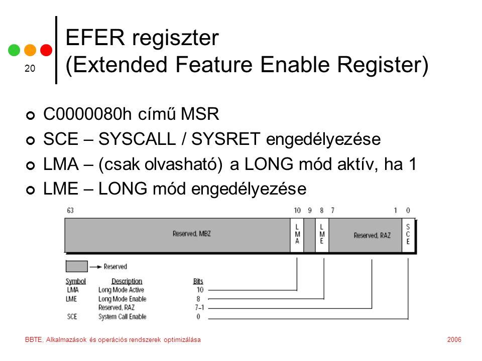 2006BBTE, Alkalmazások és operációs rendszerek optimizálása 20 EFER regiszter (Extended Feature Enable Register) C0000080h című MSR SCE – SYSCALL / SYSRET engedélyezése LMA – (csak olvasható) a LONG mód aktív, ha 1 LME – LONG mód engedélyezése