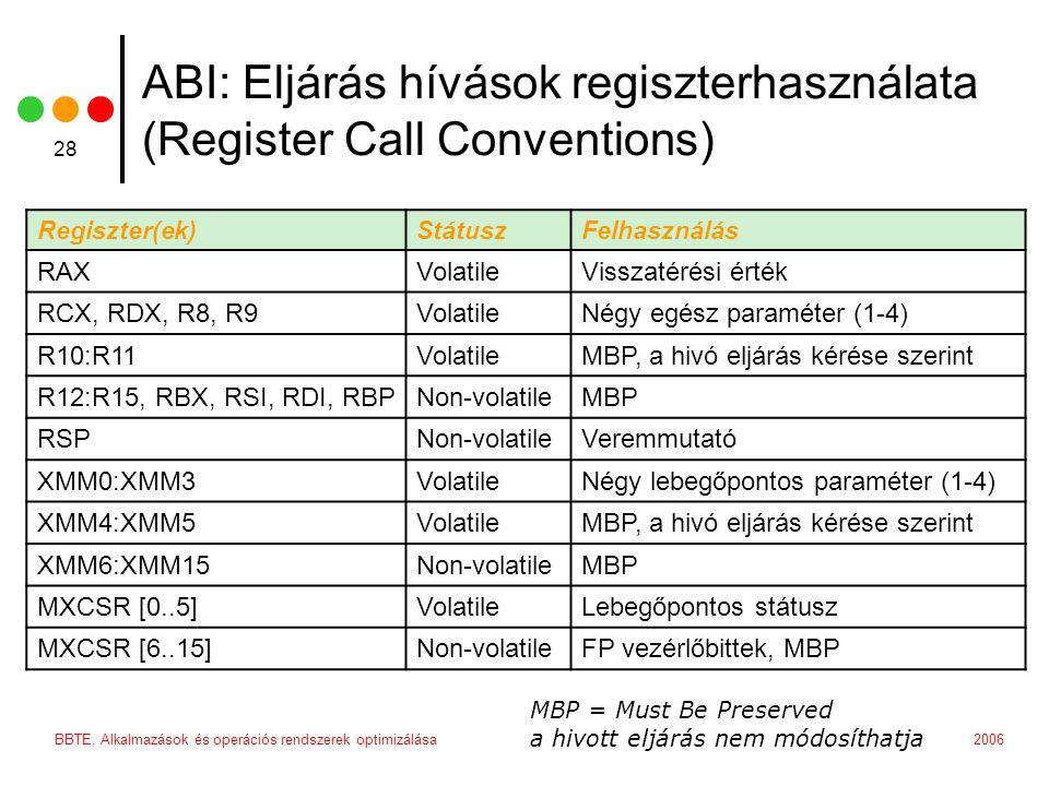 2006BBTE, Alkalmazások és operációs rendszerek optimizálása 28 Regiszter(ek)StátuszFelhasználás RAXVolatileVisszatérési érték RCX, RDX, R8, R9VolatileNégy egész paraméter (1-4) R10:R11VolatileMBP, a hivó eljárás kérése szerint R12:R15, RBX, RSI, RDI, RBPNon-volatileMBP RSPNon-volatileVeremmutató XMM0:XMM3VolatileNégy lebegőpontos paraméter (1-4) XMM4:XMM5VolatileMBP, a hivó eljárás kérése szerint XMM6:XMM15Non-volatileMBP MXCSR [0..5]VolatileLebegőpontos státusz MXCSR [6..15]Non-volatileFP vezérlőbittek, MBP MBP = Must Be Preserved a hivott eljárás nem módosíthatja ABI: Eljárás hívások regiszterhasználata (Register Call Conventions)