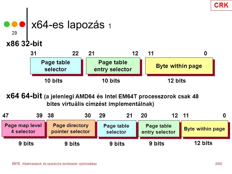 CRK 2006BBTE, Alkalmazások és operációs rendszerek optimizálása 29 31 22 21 12 11 0 10 bits 12 bits Page table selector Page table selector Page table entry selector Page table entry selector Byte within page 47 39 38 30 29 21 20 12 11 0 9 bits 12 bits Page table selector Page table selector Page table entry selector Page table entry selector Byte within page x86 32-bit x64 64-bit (a jelenlegi AMD64 és Intel EM64T processzorok csak 48.