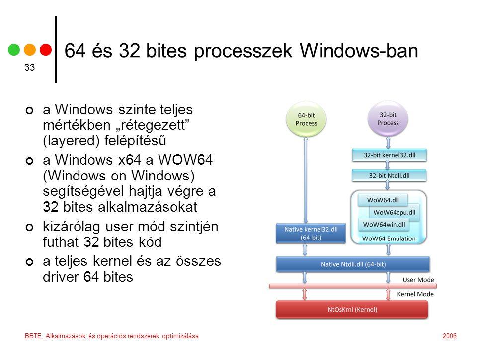 """2006BBTE, Alkalmazások és operációs rendszerek optimizálása 33 64 és 32 bites processzek Windows-ban a Windows szinte teljes mértékben """"rétegezett (layered) felépítésű a Windows x64 a WOW64 (Windows on Windows) segítségével hajtja végre a 32 bites alkalmazásokat kizárólag user mód szintjén futhat 32 bites kód a teljes kernel és az összes driver 64 bites"""