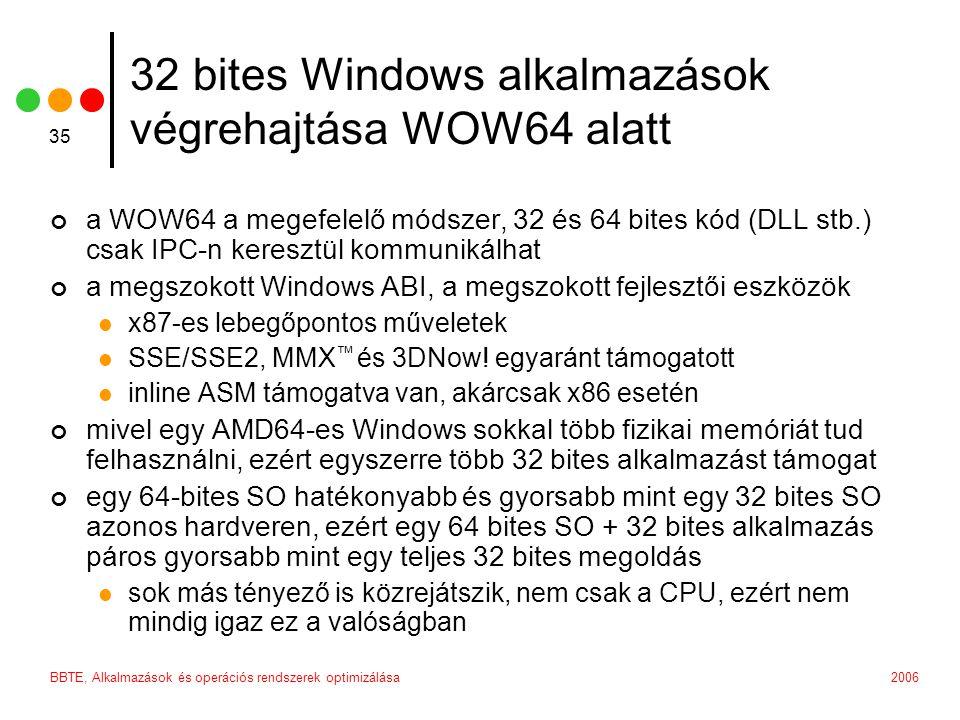 2006BBTE, Alkalmazások és operációs rendszerek optimizálása 35 a WOW64 a megefelelő módszer, 32 és 64 bites kód (DLL stb.) csak IPC-n keresztül kommunikálhat a megszokott Windows ABI, a megszokott fejlesztői eszközök x87-es lebegőpontos műveletek SSE/SSE2, MMX ™ és 3DNow.