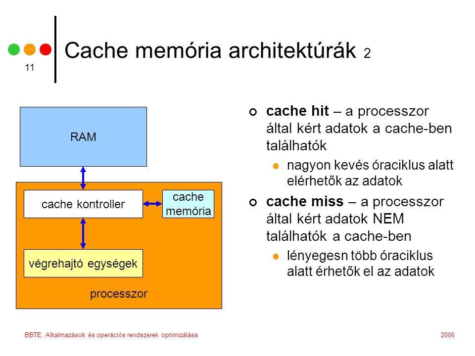 2006BBTE, Alkalmazások és operációs rendszerek optimizálása 11 processzor Cache memória architektúrák 2 cache hit – a processzor által kért adatok a cache-ben találhatók nagyon kevés óraciklus alatt elérhetők az adatok cache miss – a processzor által kért adatok NEM találhatók a cache-ben lényegesn több óraciklus alatt érhetők el az adatok RAM cache kontroller végrehajtó egységek cache memória