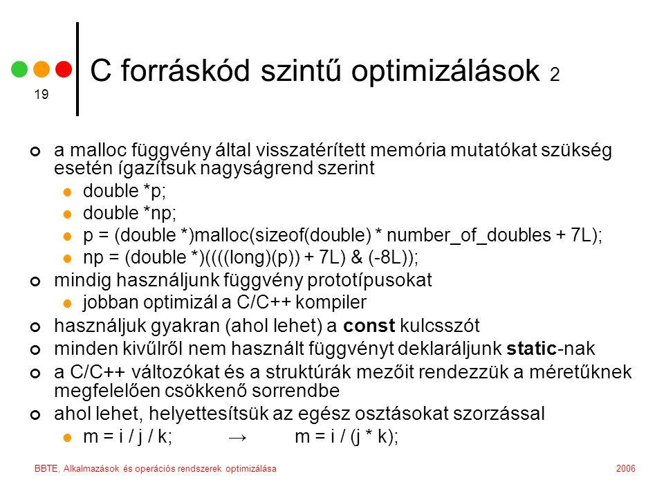 2006BBTE, Alkalmazások és operációs rendszerek optimizálása 19 C forráskód szintű optimizálások 2 a malloc függvény által visszatérített memória mutatókat szükség esetén ígazítsuk nagyságrend szerint double *p; double *np; p = (double *)malloc(sizeof(double) * number_of_doubles + 7L); np = (double *)((((long)(p)) + 7L) & (-8L)); mindig használjunk függvény prototípusokat jobban optimizál a C/C++ kompiler használjuk gyakran (ahol lehet) a const kulcsszót minden kivűlről nem használt függvényt deklaráljunk static-nak a C/C++ változókat és a struktúrák mezőit rendezzük a méretűknek megfelelően csökkenő sorrendbe ahol lehet, helyettesítsük az egész osztásokat szorzással m = i / j / k; →m = i / (j * k);