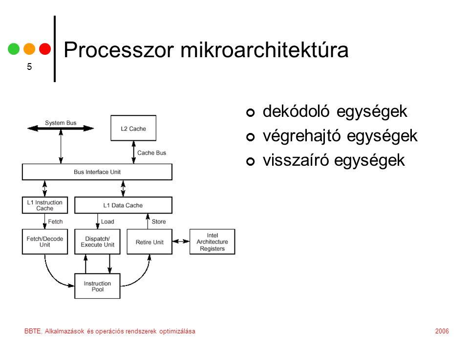 2006BBTE, Alkalmazások és operációs rendszerek optimizálása 6 Utasítás végrehajtás az utasításokat egyenként olvassa ki a dekódoló egység több dekódoló egység dolgozhat párhuzamosan a dekódolása után a processzor betölti az esetleges szükséges adatokat a processzor lefoglalja a szükséges erőforrásokat megtörénik az effektív végrehajtás (ALU stb.
