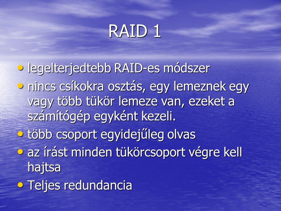 legelterjedtebb RAID-es módszer legelterjedtebb RAID-es módszer nincs csíkokra osztás, egy lemeznek egy vagy több tükör lemeze van, ezeket a számítógép egyként kezeli.