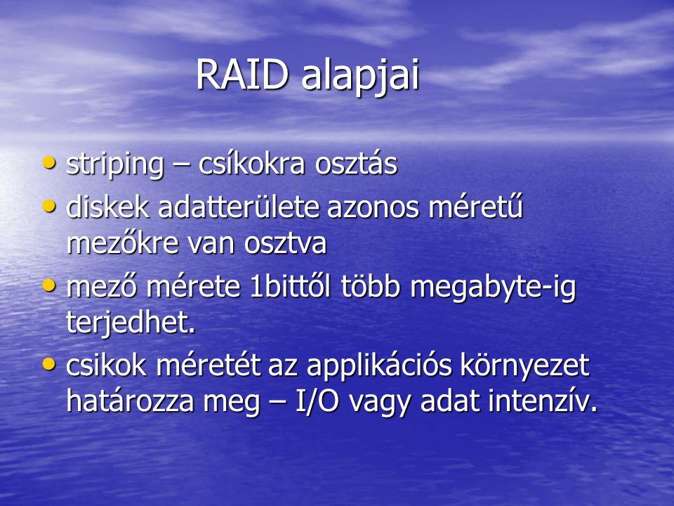 RAID alapjai RAID alapjai striping – csíkokra osztás striping – csíkokra osztás diskek adatterülete azonos méretű mezőkre van osztva diskek adatterülete azonos méretű mezőkre van osztva mező mérete 1bittől több megabyte-ig terjedhet.