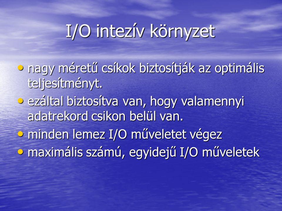 I/O intezív környzet I/O intezív környzet nagy méretű csíkok biztosítják az optimális teljesítményt.