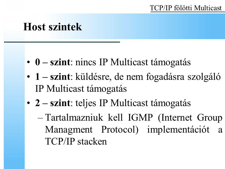 Host szintek 0 – szint: nincs IP Multicast támogatás 1 – szint: küldésre, de nem fogadásra szolgáló IP Multicast támogatás 2 – szint: teljes IP Multicast támogatás –Tartalmazniuk kell IGMP (Internet Group Managment Protocol) implementációt a TCP/IP stacken TCP/IP fölötti Multicast