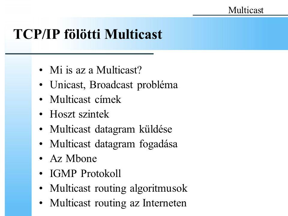 TCP/IP fölötti Multicast Mi is az a Multicast? Unicast, Broadcast probléma Multicast címek Hoszt szintek Multicast datagram küldése Multicast datagram