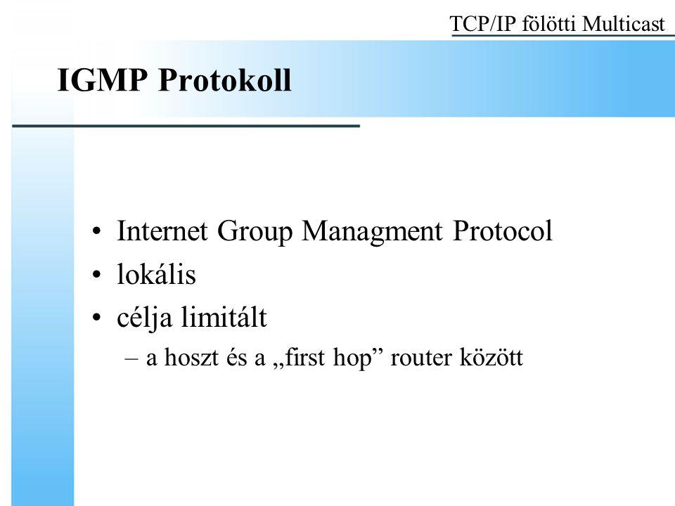 """IGMP Protokoll Internet Group Managment Protocol lokális célja limitált –a hoszt és a """"first hop"""" router között TCP/IP fölötti Multicast"""
