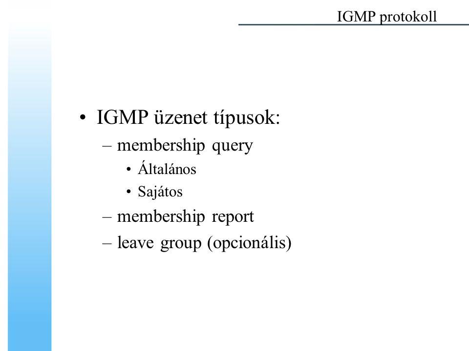 IGMP üzenet típusok: –membership query Általános Sajátos –membership report –leave group (opcionális) IGMP protokoll