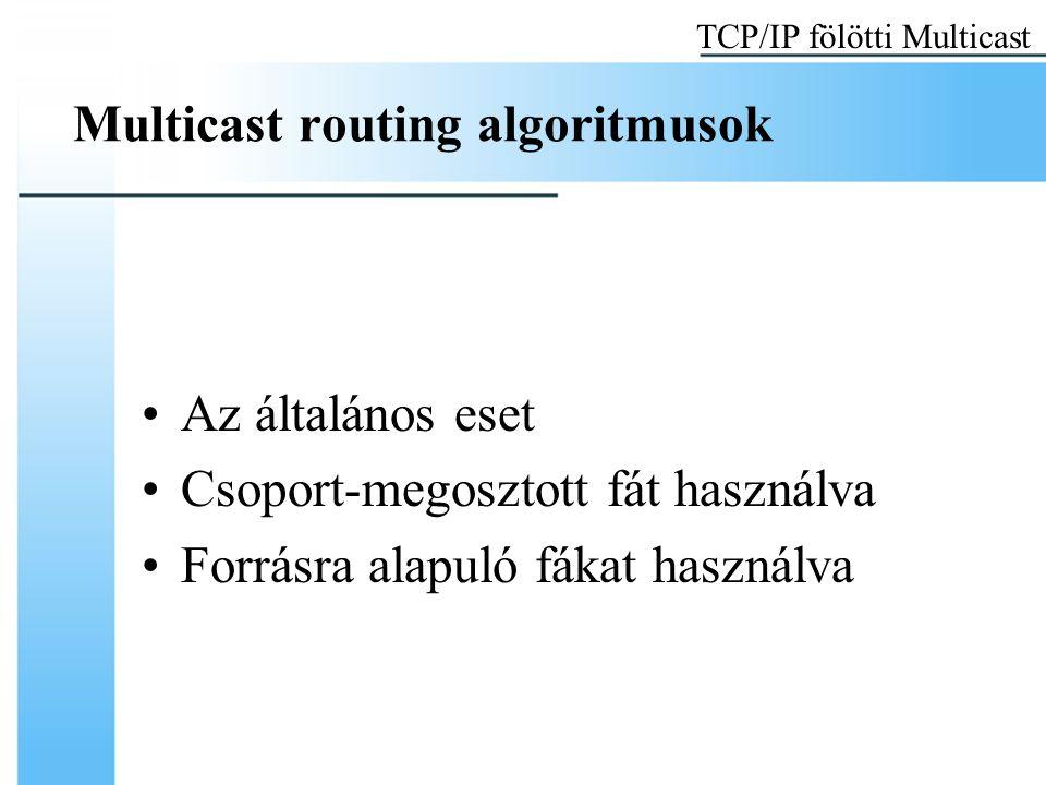 Multicast routing algoritmusok Az általános eset Csoport-megosztott fát használva Forrásra alapuló fákat használva TCP/IP fölötti Multicast