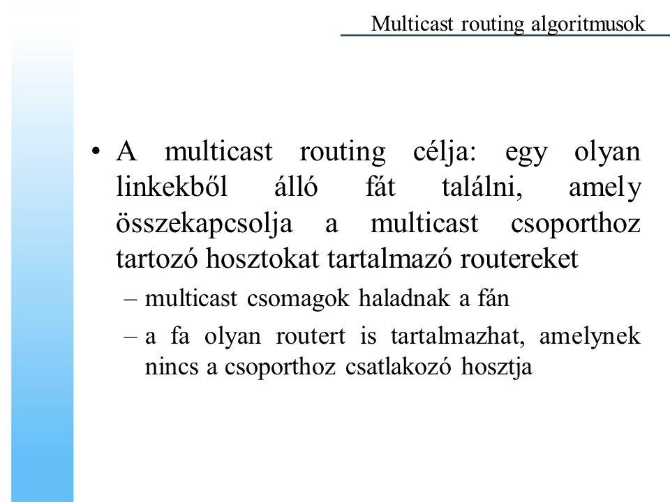 A multicast routing célja: egy olyan linkekből álló fát találni, amely összekapcsolja a multicast csoporthoz tartozó hosztokat tartalmazó routereket –