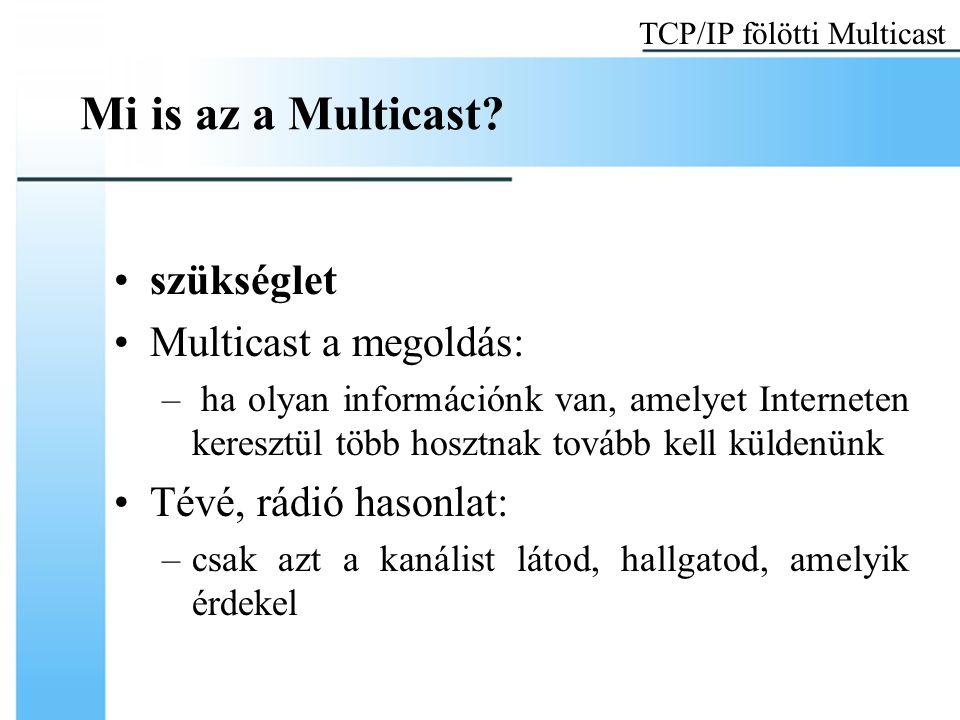 Multicast datagram küldése A Multicast forgalmat UDP-vel kezelik a szállítási rétegben Kutatások folynak: Multicast Transport Protocols Az applikáció: megnyitja az UDP socket-et, kitölti D-osztályú multicast címmel a cél mezőt TCP/IP fölötti Multicast