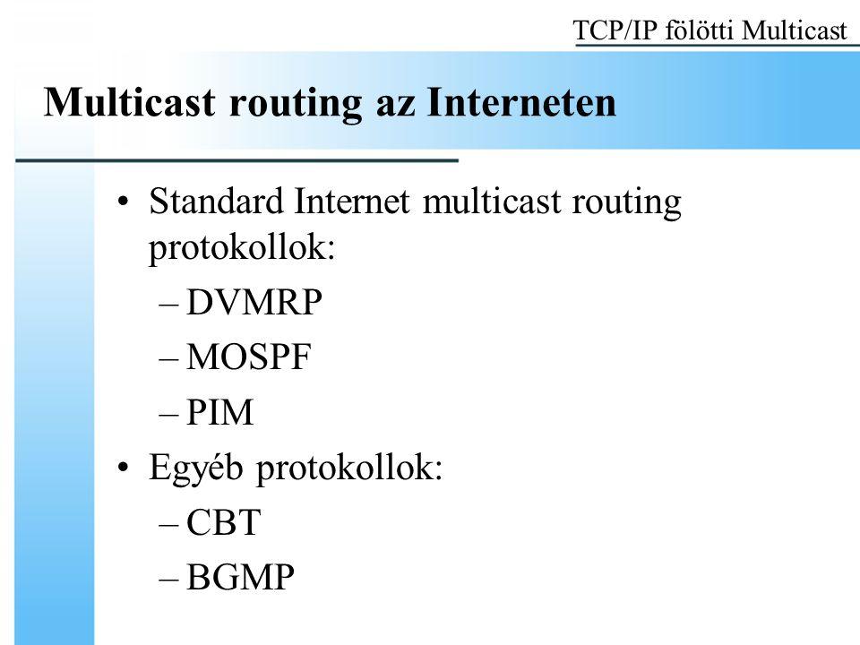 Multicast routing az Interneten Standard Internet multicast routing protokollok: –DVMRP –MOSPF –PIM Egyéb protokollok: –CBT –BGMP TCP/IP fölötti Multicast