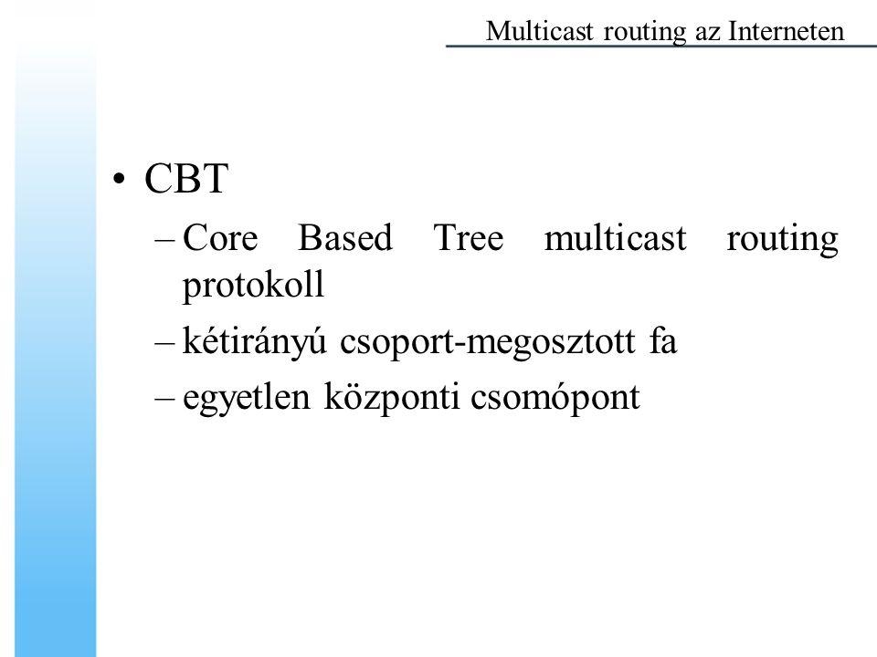 CBT –Core Based Tree multicast routing protokoll –kétirányú csoport-megosztott fa –egyetlen központi csomópont Multicast routing az Interneten