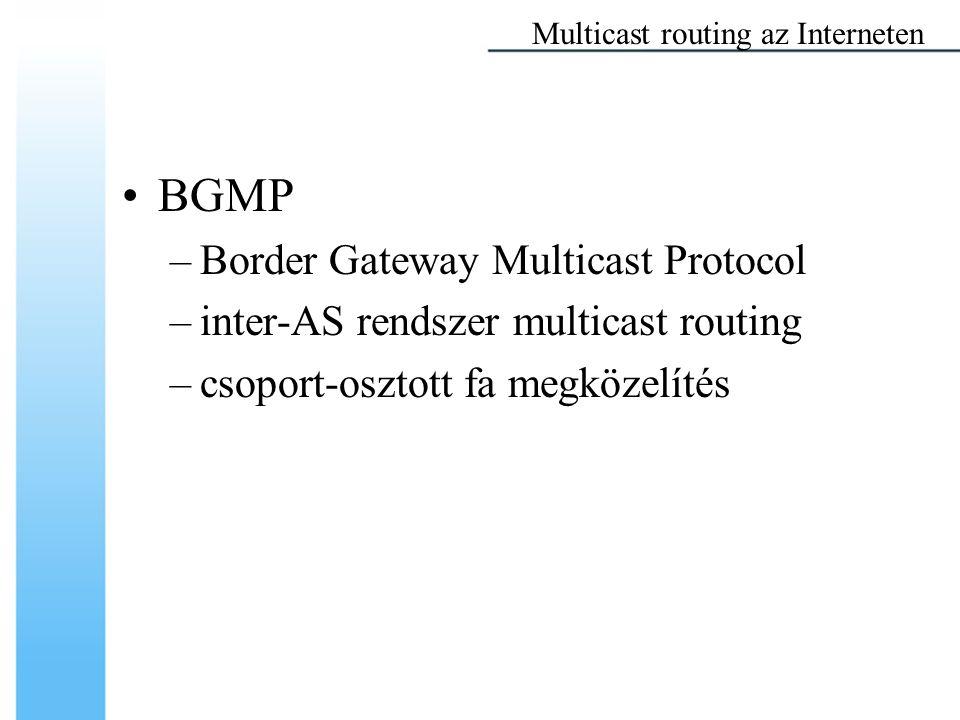 BGMP –Border Gateway Multicast Protocol –inter-AS rendszer multicast routing –csoport-osztott fa megközelítés Multicast routing az Interneten
