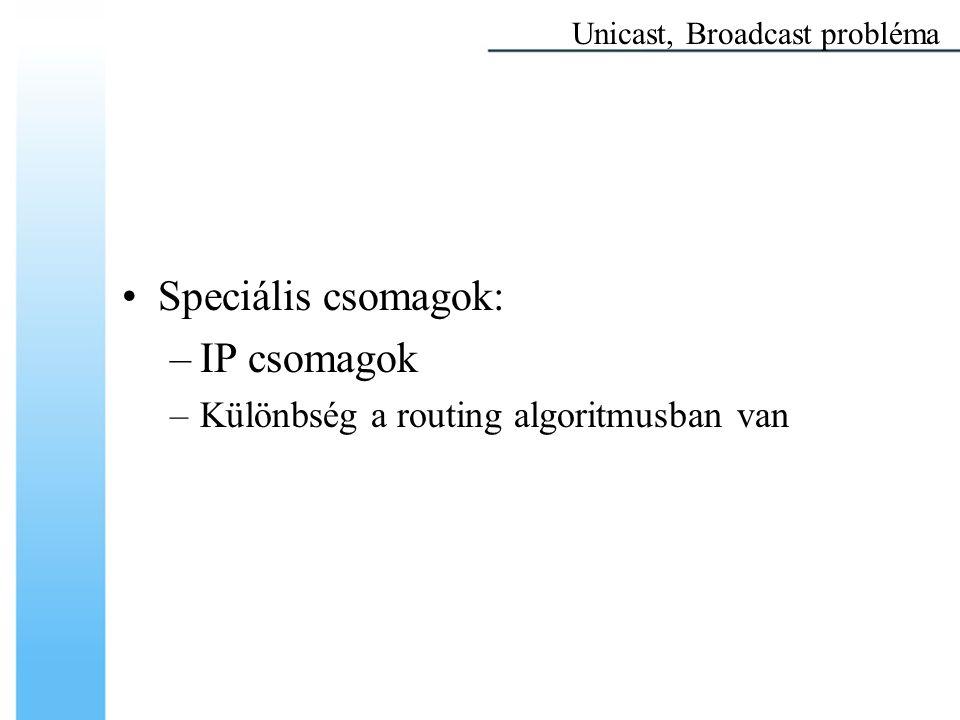 Multicast címek Multicast címzés Minden IP datagram, amely 1110-val kezdődik, IP multicast datagram Maradék 28 bit: –a cél multicast csoportot azonosítja TCP/IP fölötti Multicast