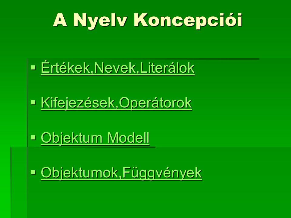 A Nyelv Koncepciói  Értékek,Nevek,Literálok Értékek,Nevek,Literálok  Kifejezések,Operátorok Kifejezések,Operátorok  Objektum Modell Objektum Modell