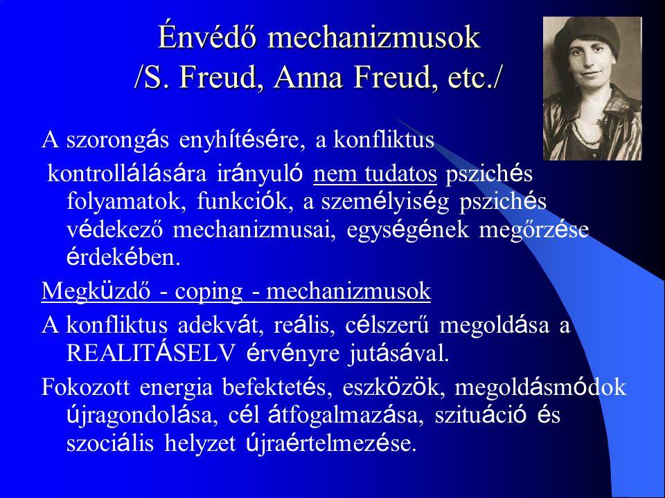 Énvédő mechanizmusok /S. Freud, Anna Freud, etc./ A szorong á s enyh í t é s é re, a konfliktus kontroll á l á s á ra ir á nyul ó nem tudatos pszich é