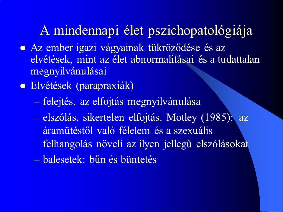 A mindennapi élet pszichopatológiája Az ember igazi vágyainak tükröződése és az elvétések, mint az élet abnormalitásai és a tudattalan megnyilvánulása