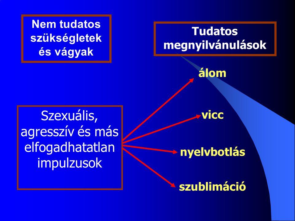 Tudatos megnyilvánulások Szexuális, agresszív és más elfogadhatatlan impulzusok álom vicc nyelvbotlás szublimáció Nem tudatos szükségletek és vágyak