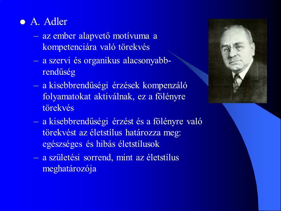 A. Adler –az ember alapvető motívuma a kompetenciára való törekvés –a szervi és organikus alacsonyabb- rendűség –a kisebbrendűségi érzések kompenzáló