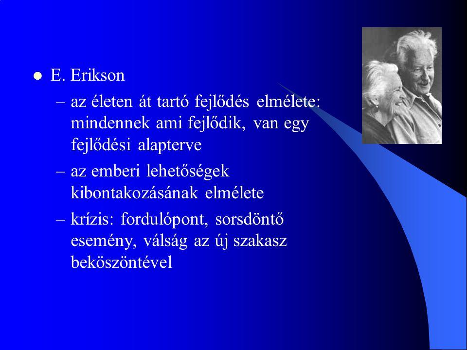 E. Erikson –az életen át tartó fejlődés elmélete: mindennek ami fejlődik, van egy fejlődési alapterve –az emberi lehetőségek kibontakozásának elmélete