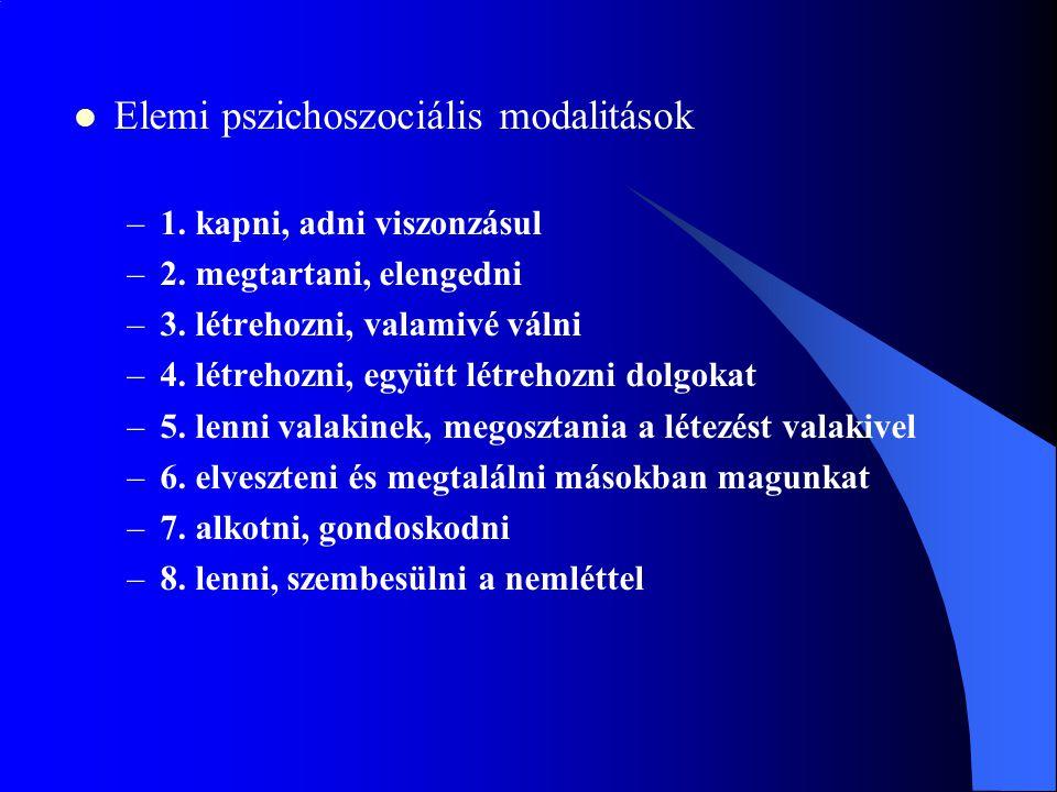 Elemi pszichoszociális modalitások –1.kapni, adni viszonzásul –2.
