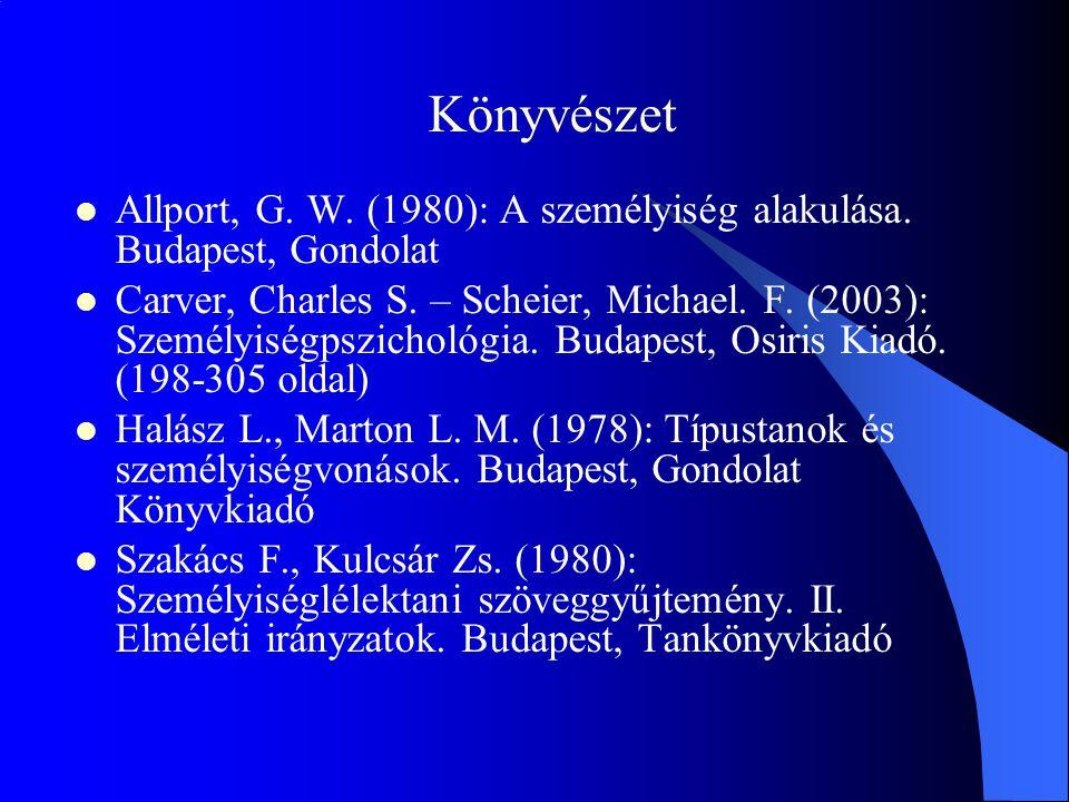 Könyvészet Allport, G. W. (1980): A személyiség alakulása. Budapest, Gondolat Carver, Charles S. – Scheier, Michael. F. (2003): Személyiségpszichológi