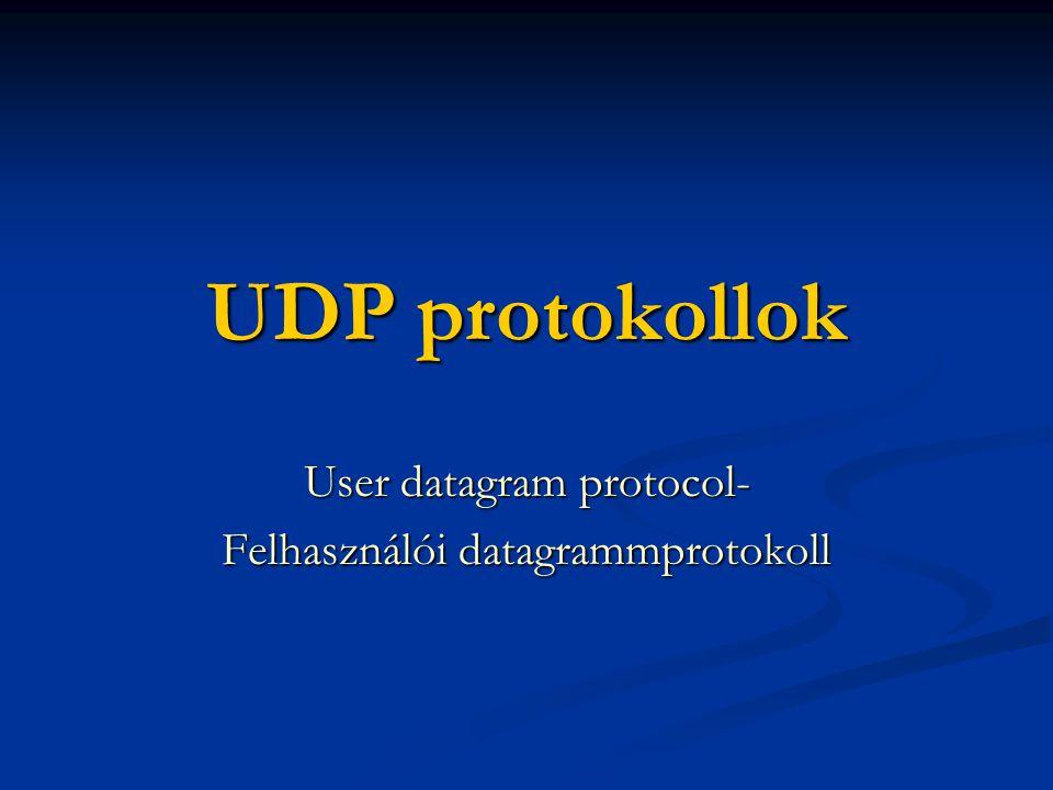 UDP protokollok User datagram protocol- Felhasználói datagrammprotokoll