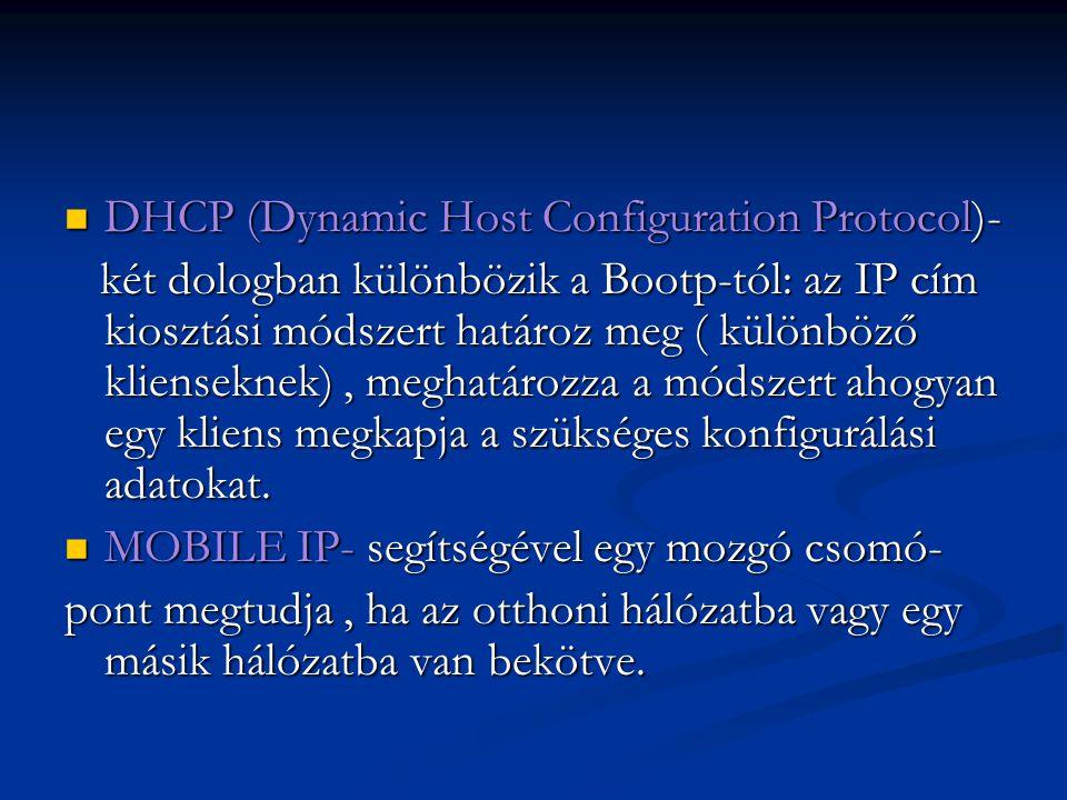 DHCP (Dynamic Host Configuration Protocol)- DHCP (Dynamic Host Configuration Protocol)- két dologban különbözik a Bootp-tól: az IP cím kiosztási módsz
