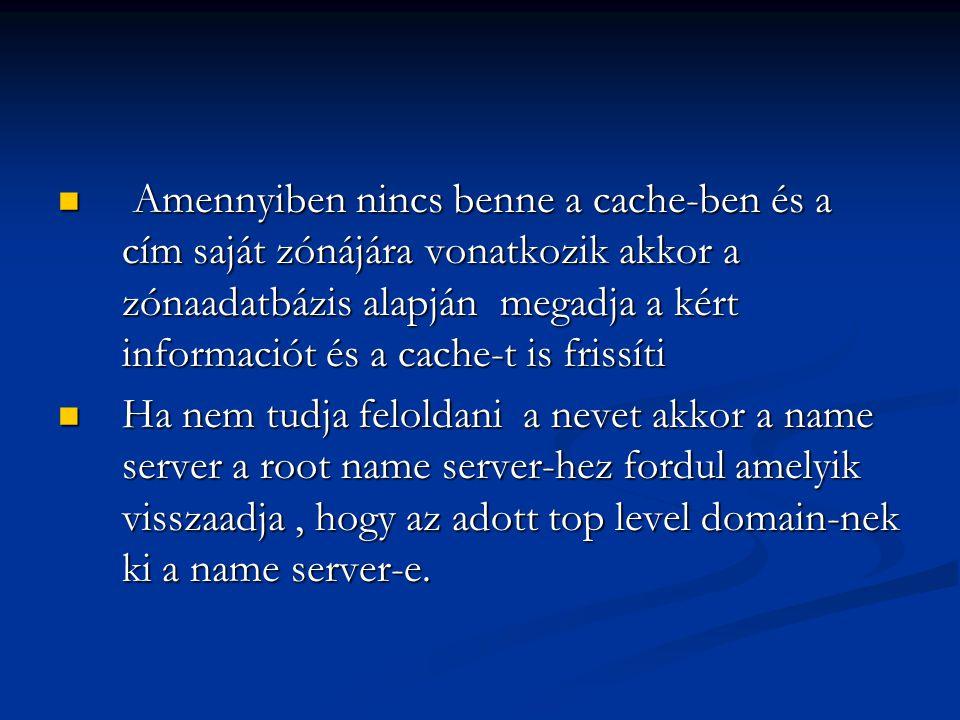 Amennyiben nincs benne a cache-ben és a cím saját zónájára vonatkozik akkor a zónaadatbázis alapján megadja a kért informaciót és a cache-t is frissít