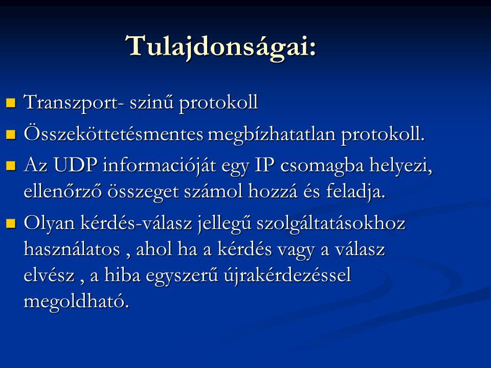 Tulajdonságai: Transzport- szinű protokoll Transzport- szinű protokoll Összeköttetésmentes megbízhatatlan protokoll. Összeköttetésmentes megbízhatatla