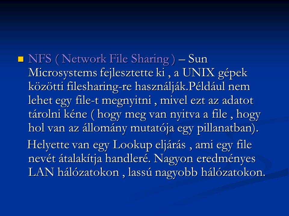 NFS ( Network File Sharing ) – Sun Microsystems fejlesztette ki, a UNIX gépek közötti filesharing-re használják.Például nem lehet egy file-t megnyitni