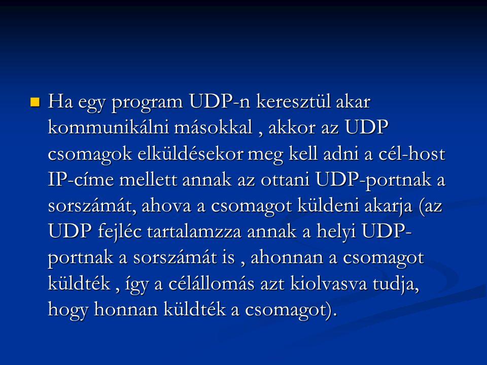 Ha egy program UDP-n keresztül akar kommunikálni másokkal, akkor az UDP csomagok elküldésekor meg kell adni a cél-host IP-címe mellett annak az ottani