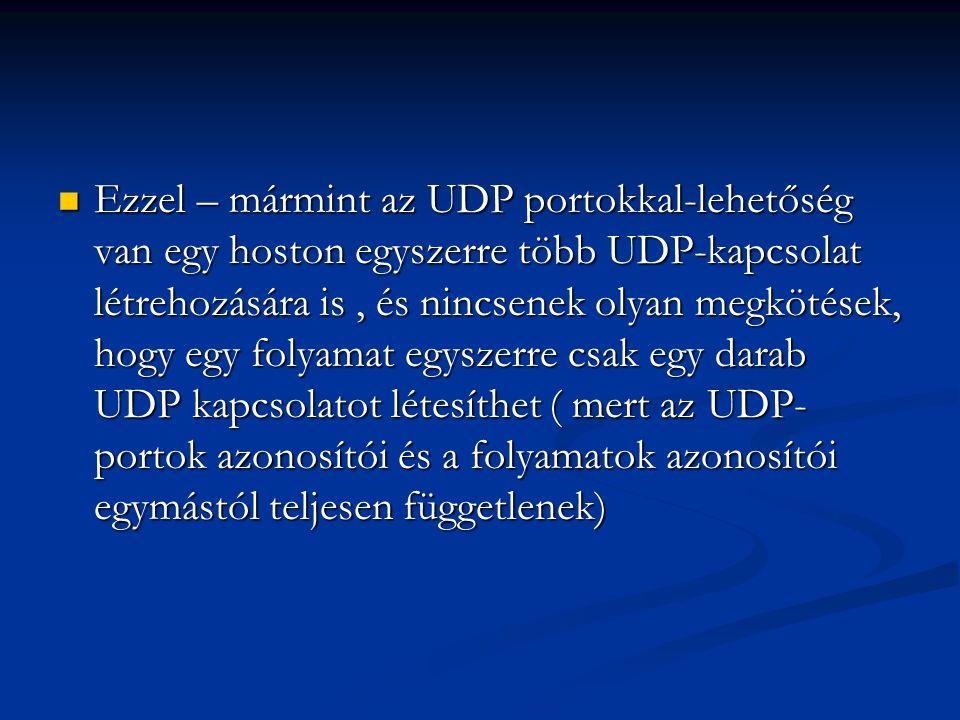 Ezzel – mármint az UDP portokkal-lehetőség van egy hoston egyszerre több UDP-kapcsolat létrehozására is, és nincsenek olyan megkötések, hogy egy folya